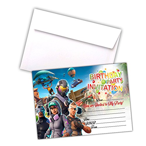 Fortnite Invitations | A6 Pack of 20 Cards | Party Invites | Kids Children Boys Girls | 200gsm Gloss Cards | with C6 Envelopes & Thank You Cards Options (With Envelopes)