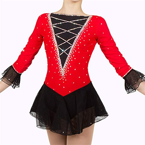 Machen Kostüm Kleid Schwarzen - Handarbeit Eiskunstlauf Kleid Für Mädchen, Rollschuhkleid Wettbewerb Professionelle Kostüm Eislauf Kleid Langärmelige Rot Schwarz,XL