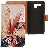 """Lankashi PU Flip Funda De Carcasa Cuero Case Cover Piel Para Lenovo A8 A806 A808T 5"""" Wing Girl Design"""
