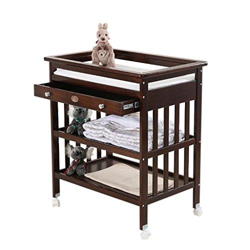Ali@ Table à langer bébé nouveau-né, bois massif avec roue de tiroir Porte-savon multifonction à soins multiples, charge 30 kg (Couleur : Brown)