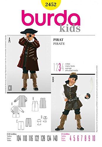 Burda Schnittmuster 2452-Pirat Kostüm Kinder Größen: 4-10Junior (Junior Piraten Kostüm)