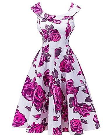 Women 50s Retro Style Formal Dress Cotton Round Collar Sleeveless Swing Skirt L White Rose