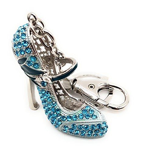 Schlüsselanhänger,Taschenanhänger Schuh(Pumps) mit Strass und Bling Bling Effekt mit Schlüsselring ,Karabiner Damen (Pumps 2 Blau)
