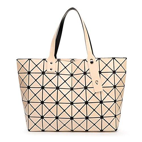 Damen Umhängetasche Handtasche Geometrie Faltenpaket Gesteppte apricot