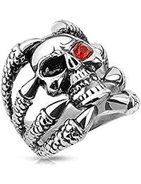 Paula & Fritz®, anello in acciaio chirurgico 316L, largo 25mm, a forma di teschio in un artiglio, con occhi di zirconi; misura 60(19)- 75(24), R-H9315
