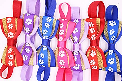 Yagapet 10pcs New Pet Dog Bowties Paw Print Adjustable Pet Collars Dog Grooming Products Dog Tie Necktie Dog Accessories Cute Gift