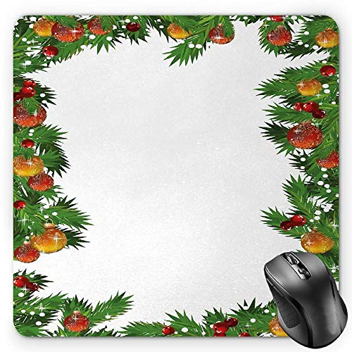 Fir Multi Color Christmas Tree (HYYCLS New Year Mauspads, Traditional Colorful Christmas Baubles Ornamental Frame Pattern Digital Fir Tree, Standard Size Rectangle Non-Slip Rubber Mousepad, Multicolor)