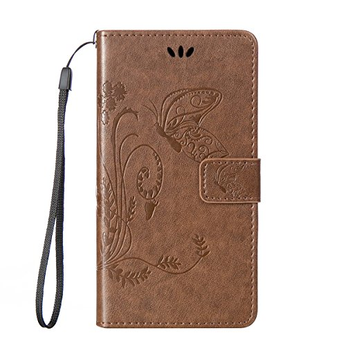 iPhone 6 Hülle Case,iPhone 6S Hülle Case,Gift_Source [Card Slot] [Kickstand Feature] Magnetic Closure PU Leder Blume Schmetterling Embossed Brieftasche Hülle Case Folio Flip Hülle Case mit Strap für i E01-05-Light Blau
