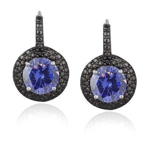 4ct zircone Bleu Argent Sterling diamant Accent & noir-boucles d'oreilles dormeuses 19