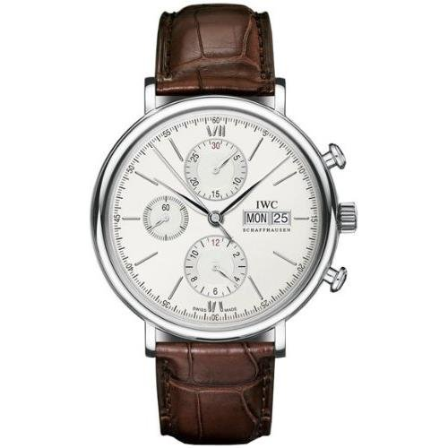 iwc-mens-portofino-42mm-brown-leather-band-steel-case-automatic-silver-tone-dial-analog-watch-iw3910