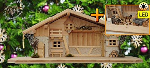 ÖLBAUMKRIPPE LED-beleuchtet -Krippen aus Naturholz,historische Holz-Krippenstall-Weihnachtskrippe, mit GRANITBRUNNEN Wassergrand + Premium-DEKOSET Krippenstall, MASSIVHOLZ Natur
