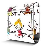 BANJADO Edelstahl Briefkasten mit Zeitungsfach, Design Motivbriefkasten, Briefkasten 38x43,5x12,5cm groß Motiv Happy Kids