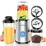 LOFTer Smoothie Maker 380W Mixer Blender Standmixer 24.000 U/Min Smoothie Mixer Multifunktion Mixer Smoothie Maker mit Kaffeemühle und 2 Trinkflaschen für Smoothie, BPA Frei
