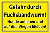 Schild - Vorsicht - Fuchs-bandwurm - Hund anleinen - 15x10cm mit Bohrlöchern | stabile 3mm starke Aluminiumverbundplatte – S00359-094-C +++ in 20 Varianten erhältlich