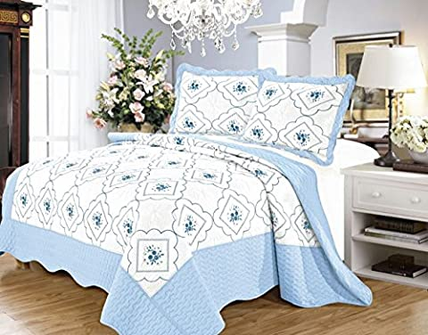 3 Piece,Floral Embroidered Quilted Poly Cotton Bedspread Throw + 2 Pillow Shams (Double, Blue)