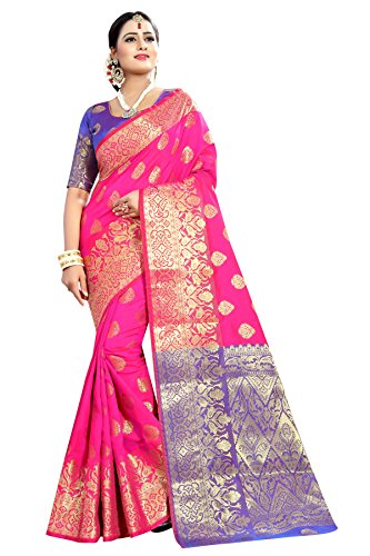 Kalapy Fashion Banarasi Silk Saree With Blouse Piece (Pink_Free Size)