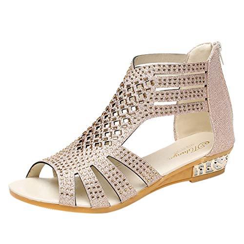 uhe Frauen bequem Ausgeschnitten niedrigen Ferse Sommer Gladiator Walking Sandale Glitter Strass Peep Toe Wedge Sandale mit Reißverschluss ()