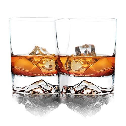 Aibada Mount Whisky Gläser 2er Set, Rocky Everest Mountain, Bourbon Scotch Ultra Clear Whiskyglas