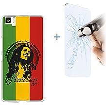 Funda Gel Flexible bq Aquaris M5 BeCool Estrellas de Musica Marley [ +1 Protector Cristal Vidrio Templado ] Carcasa Case Silicona TPU Suave