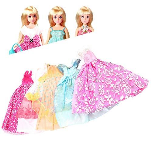 Jasnyfall 5Pcs Handgemachte Prinzessin Party Kleid Kleider Kleidung 10 Schuhe für Barbie Puppe-Farbe: Multicolor
