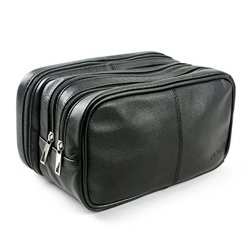 Lavievert Genuine Leather Toiletry Bag Grooming Shaving Accessory Dopp Kit Portable Travel Organizer with Three-layered Storage Sections & Handle Strap by Lavievert -