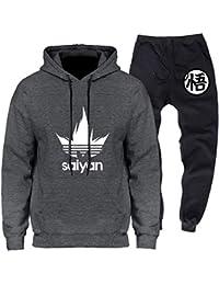 41e1880163 Dragon Ball Saiyan Unisexe Survêtement Homme Ensemble de Sport Sweatshirt à  Capuche Manches Longues et Pantalon