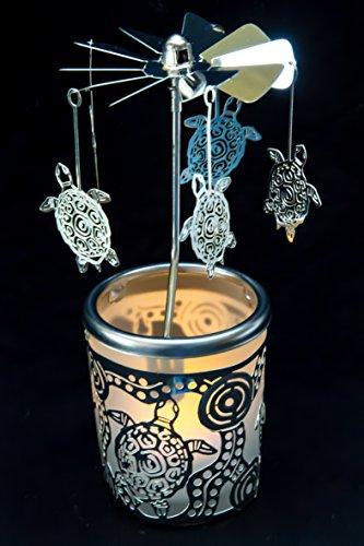 Pyramide/ Rondell silber Teelichtglas im Geschenkkarton SET inkl. Glitzerstern (Schildkröte)