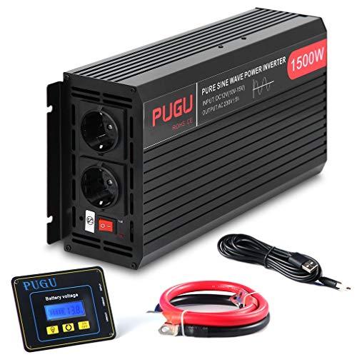 ALTERDJ 1500W Wechselrichter Reiner Sinus - Auto Wechselrichter 12v auf 230v Umwandler - Inverter Konverter mit 2 EU Steckdose und USB-Port - Spitzenleistung 3000 Watt