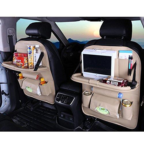 Fjw organizzatore di sedili per auto tappetino per calcio proteggi sedile auto tasche multifunzione organizer per auto di grande capacità con supporto per tablet,beige