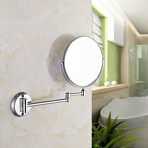 Lnxd Edelstahl Wandspiegel Faltwand spiegel Doppelseitig ausziehbaren Make-up-Spiegel bad Spiegel, 6 Zoll
