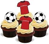 LIVERPOOL FUßBALL MISCHUNG - 12 essbare hochwertige stehende Waffeln Kuchen Toppers - FOOTBALL MIX LIVERPOOL