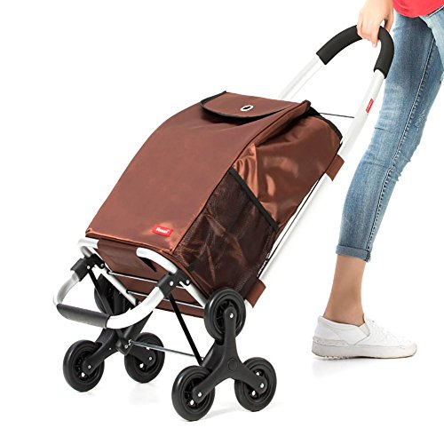 Cabaf Chariot Dolly Stair Climber roulant Panier Multipurpose 6 Roue Cadre en acier inoxydable , brown