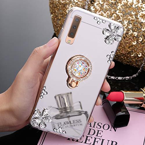 Uposao Kompatibel mit Samsung Galaxy A7 2018 Hülle Glitzer Diamant Glänzend Strass Spiegel Mirror Handyhülle mit Handy Ring Ständer Schutzhülle Transparent TPU Silikon Hülle Tasche,Silber