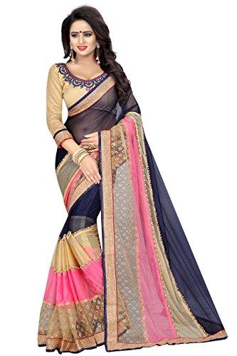 J B Fashion Women's Bhagalpuri nevy Saree With Blouse Piece