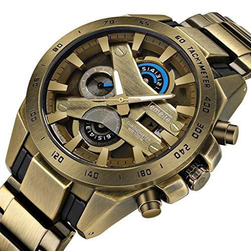 H.ZHOU Uhren für Herren Edelstahl Band Wasserdicht 3 ATM 165g Uhr Quarzuhr Stoßfest Multifunktional Analog Armbanduhr Festival Geschenk T006G-1 (Farbe : Bronze Yellow 01)