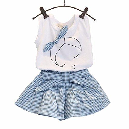 Sammoson 2pcs bambini set bimbo bambino bambine neonato infantile bambino ragazzo ragazza carina arco ragazza modello camicia superiore griglia pantaloncini outfits set (130)