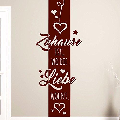 """tjapalo® Br-pkm114 Wandtattoo Banner Deko Streifen """"Zuhause ist wo die Liebe wohnt"""" Flur Wohnzimmer Wandsticker (H 190 x B 47cm)"""