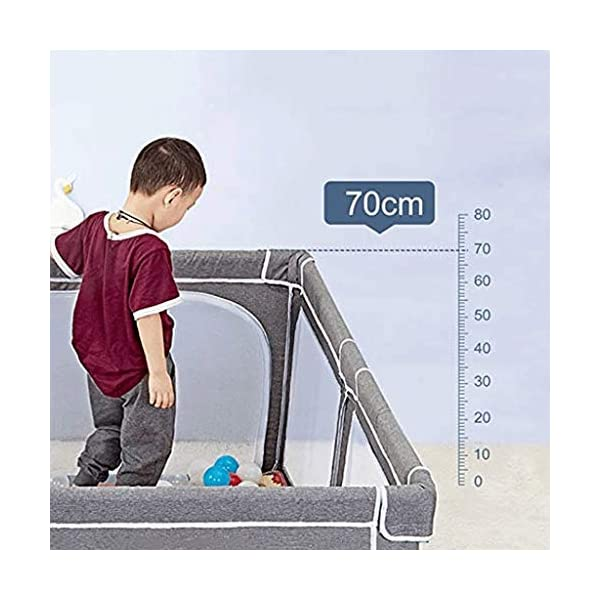 Infant Toddler Fence Household Shatter-resistant Toys House Baby Game Playpen Children's Safety Fence Crawling Bar, Height 70cm  【Safety and eco-friendly】: Keep baby safe & secure whilst providing a large play area, mesh sides for easy visibility and weather resistant canvas floor. 【Toy storage】: The fence is not only a playground for children, but also can put the baby's toys on the fence, let the baby play in the fence, meet the baby's playing spirit and keep a clean and tidy home. 【Ability development】: Intellectual development, manual brain, crawling, interest training, parent-child communication, hearing, interactive toys, grasping, sense. 3