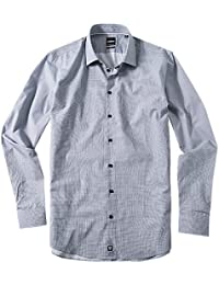 Strellson Premium Herren Hemd Baumwolle Oberhemd gemustert, Größe: 40, Farbe: blau