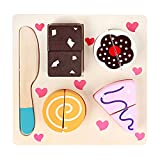 Fansport Food Toy Set Simulated Cutting Board Wooden Play Toy Kitchen Food Toy Set One Size Cake