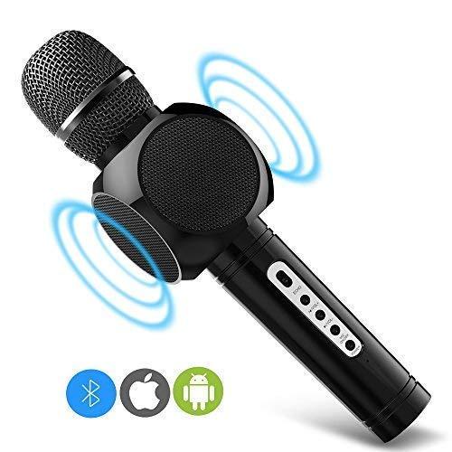 ERAY Tragbares drahtloses Microphone für Karaoke Bluetooth Lautsprecher, Aufnahme von Gesang für Singen und Musik hören, schönes Geschenk für Kinder, Karaoke Mikrofon Kinder Schwarz.
