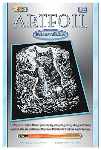 MAMMUT 8251034 - Artfoil, Kratzbild, Tiermotiv, Kätzchen, Katze, silber, Komplettset mit Kratzbild, Kratzmesser und Anleitung, Scraper, Scratch, Kratzset für Kinder ab 8 Jahre