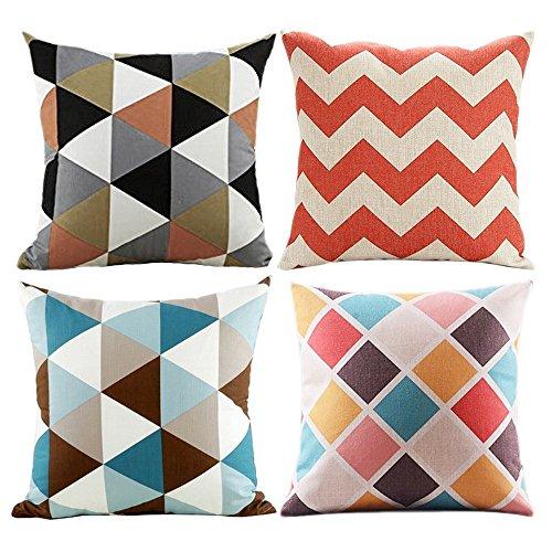 wonder4Sofa Kissen von geometrischen Mustern, 4PCS Spring/Summer Colorful home dekorativer Überwurf-Kissenbezug Sofa Kissen 45,7x 45,7cm Baumwolle Leinen Stoff, baumwolle, a, 18*18 inch