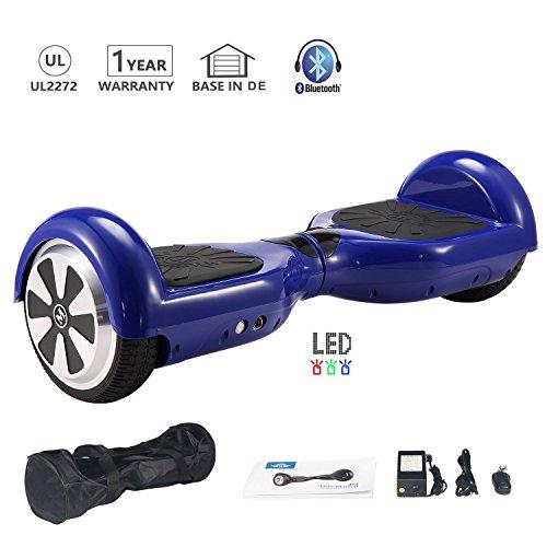 HoWay Self Blance Scooter 6,5 Zoll 700W mit Bluetooth Lautsprecher UL2272 LED Lights Elektro Scooter (Blau)