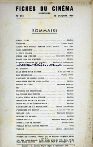 FICHES DU CINEMA [No 385] du 15/10/1968 - ADIEU L'AMI