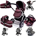 i-Safe System - Hot Chocolate Trio Travel System Pram & Luxury Stroller 3 in 1 Complete with Car Seat + Rain Covers