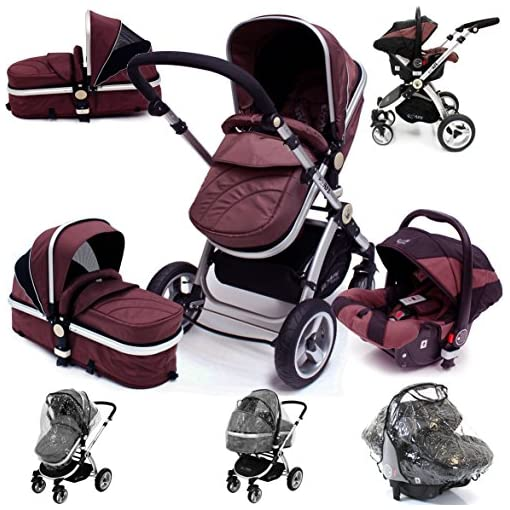 i-Safe System – Hot Chocolate Trio Travel System Pram & Luxury Stroller 3 in 1 Complete With Car Seat + Rain Covers 51zoDLVuUbL