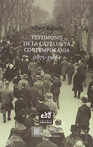 Portada del libro Testimonis de la Catalunya contemporània (1875 - 1986) (Escriny)