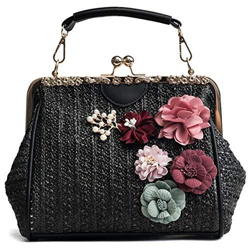 T-shao Damen Schulter Handtaschen Exquisite handgemachte Blumen Stroh Tasche Beach Fashion Rattan Woven Sommer Crossbody Tasche -