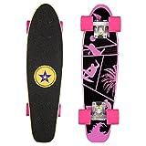 Skateboard Mini Komplettboard 57x 15cm mit ABEC-11 Kugellager für Kinder, Jugendliche und Erwachsene, Rosa